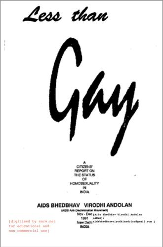 """image of cover of pamphlet entitled """"Less Than Gay: A Citizen's Report on the Status of Homosexuality in India"""" by AIDS Bhedbhav"""